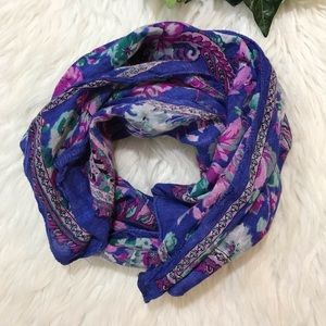 Blue Pink lavender Long Floral Paisley Scarf